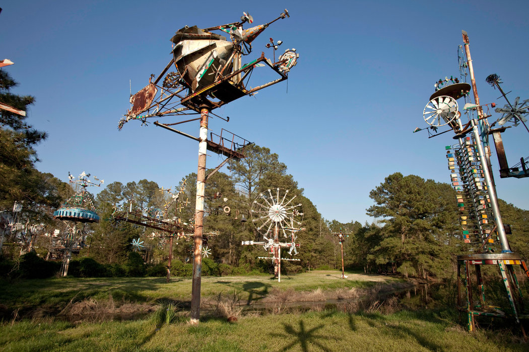 "A view of the park and some of the surviving ""whirligigs"" that Vollis Simpson created."