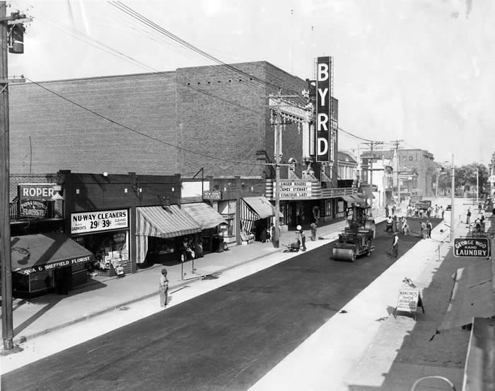New road paved in front of Byrd Theatre soon after it was completed