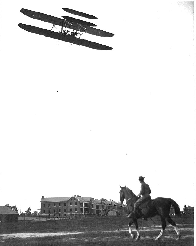 Orville Wright flying over the Fort Myer parade grounds (http://www.historic-fortmyer.com/)