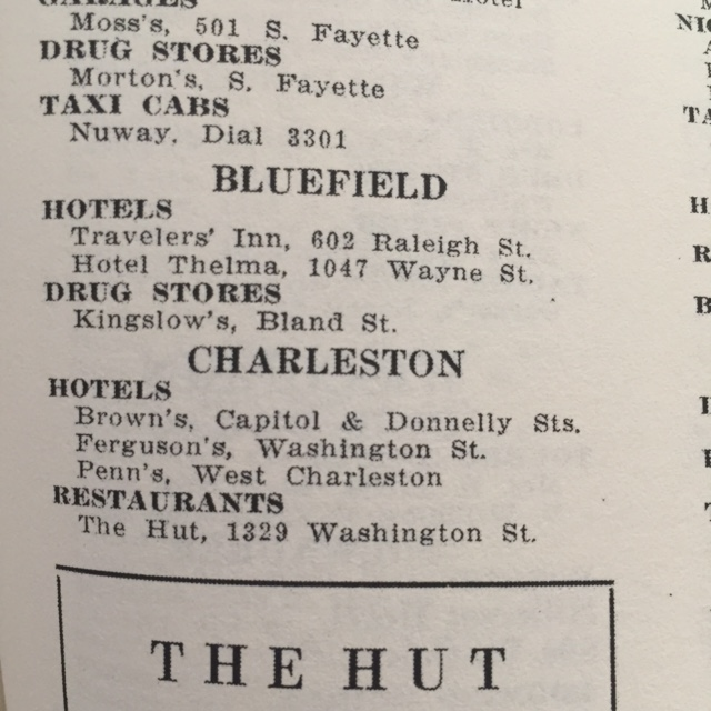 Other listings in the Bluefield area in the NMGB (1954 Edition).