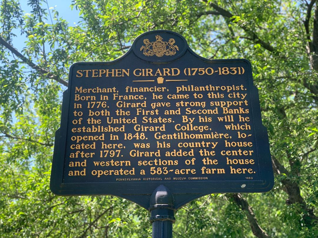Stephen Girard historic marker, photo taken 2020