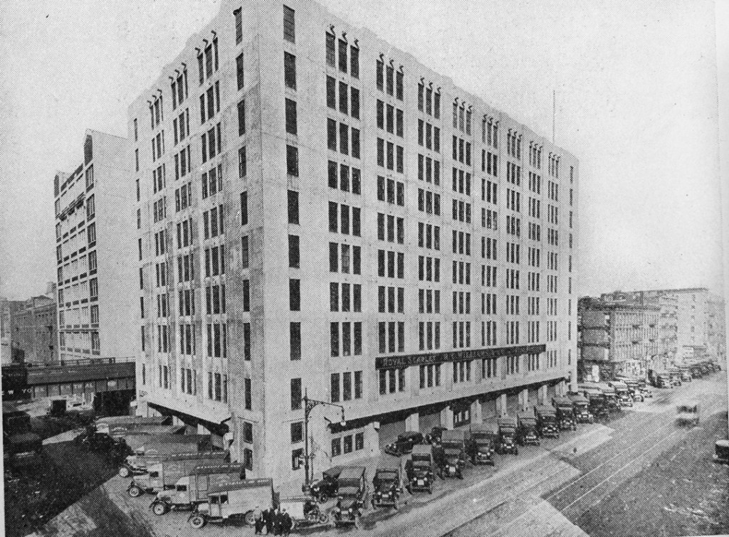 The R.C. Williams Warehouse, ca. 1930s, with fleet of trucks at street level