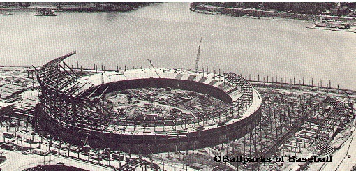 A historic photo of the stadium under construction.