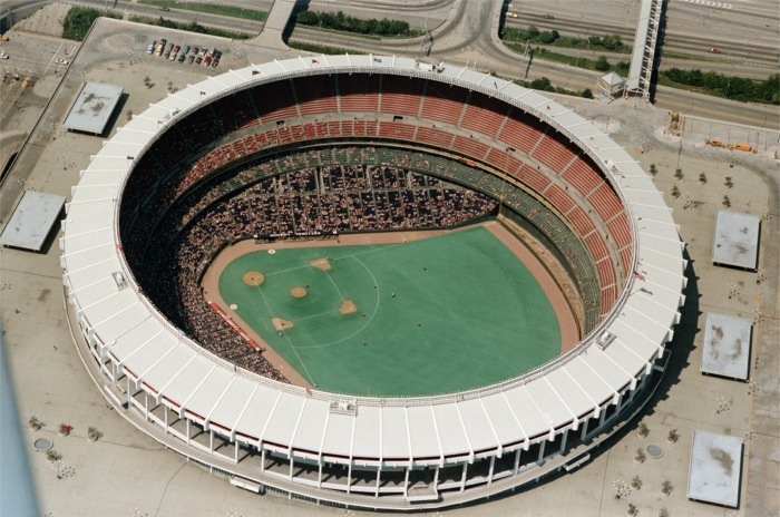 Riverfront Stadium served the Reds from 1970 to 2002.