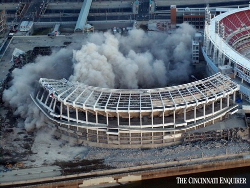 Cinergy Field is demolished with the new Great American Ballpark in the background.