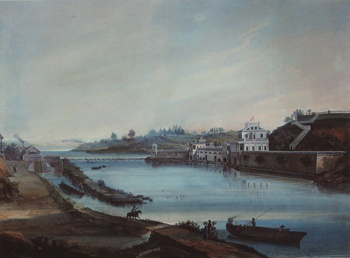 19th century painting of Fairmount Waterworks (image from Workshop of the World - Philadelphia)