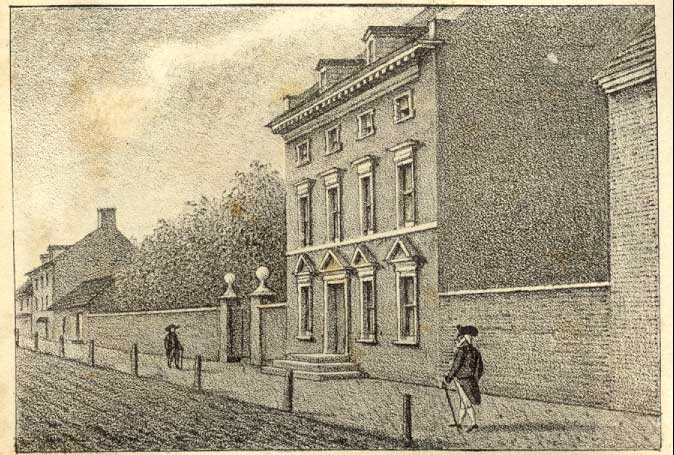 1830 Lithograph by William L. Breton depicting the President's House (image from the Annals of Philadelphia by John Fanning Watson)