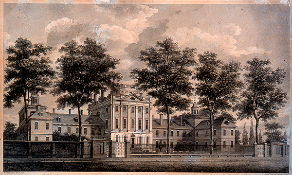 Elevation drawing of Pennsylvania Hospital by William Strickland, 1755 (image from Wikimedia Commons)