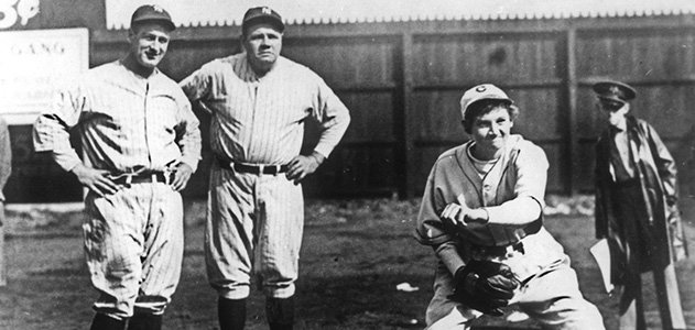 Mitchell with Babe Ruth and Lou Gehrig