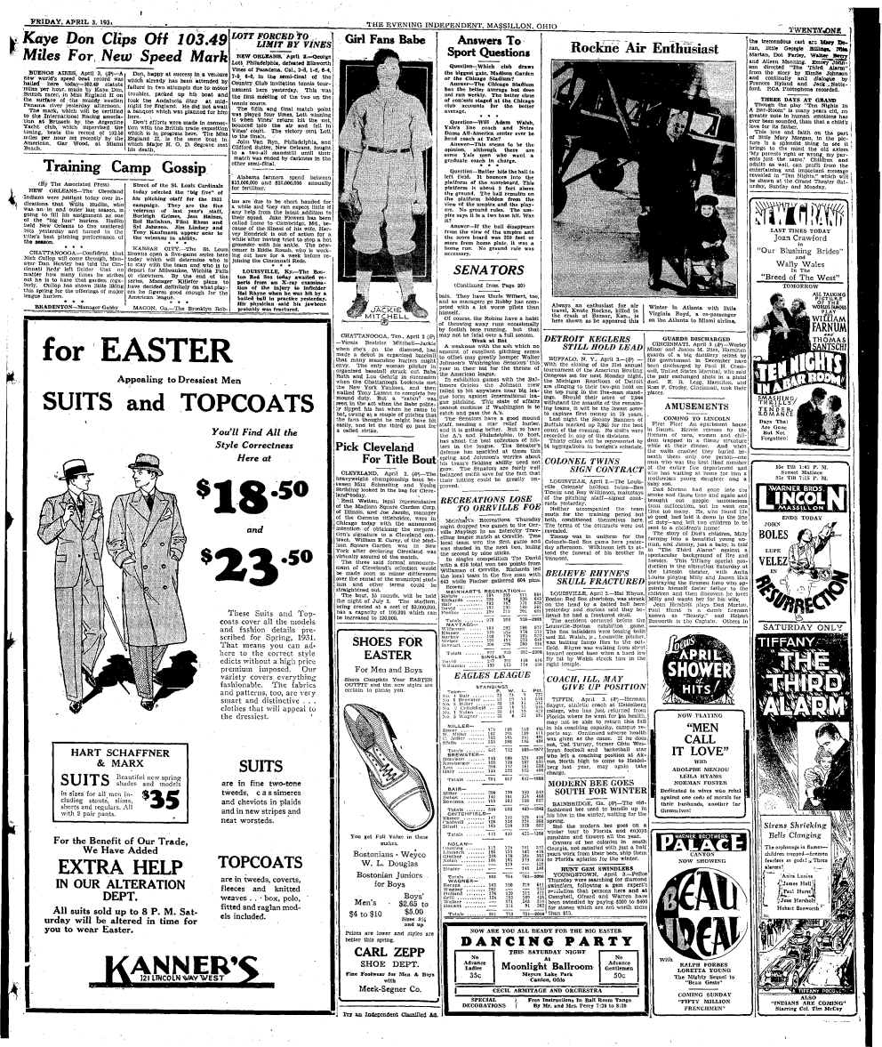 April 3, 1931 newspaper article in the Evening Independent depicting the event