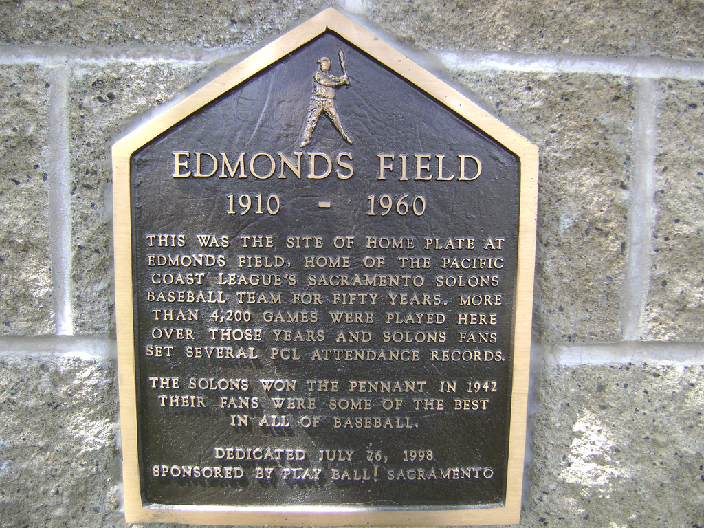 The Edmonds Field Marker at home plate.