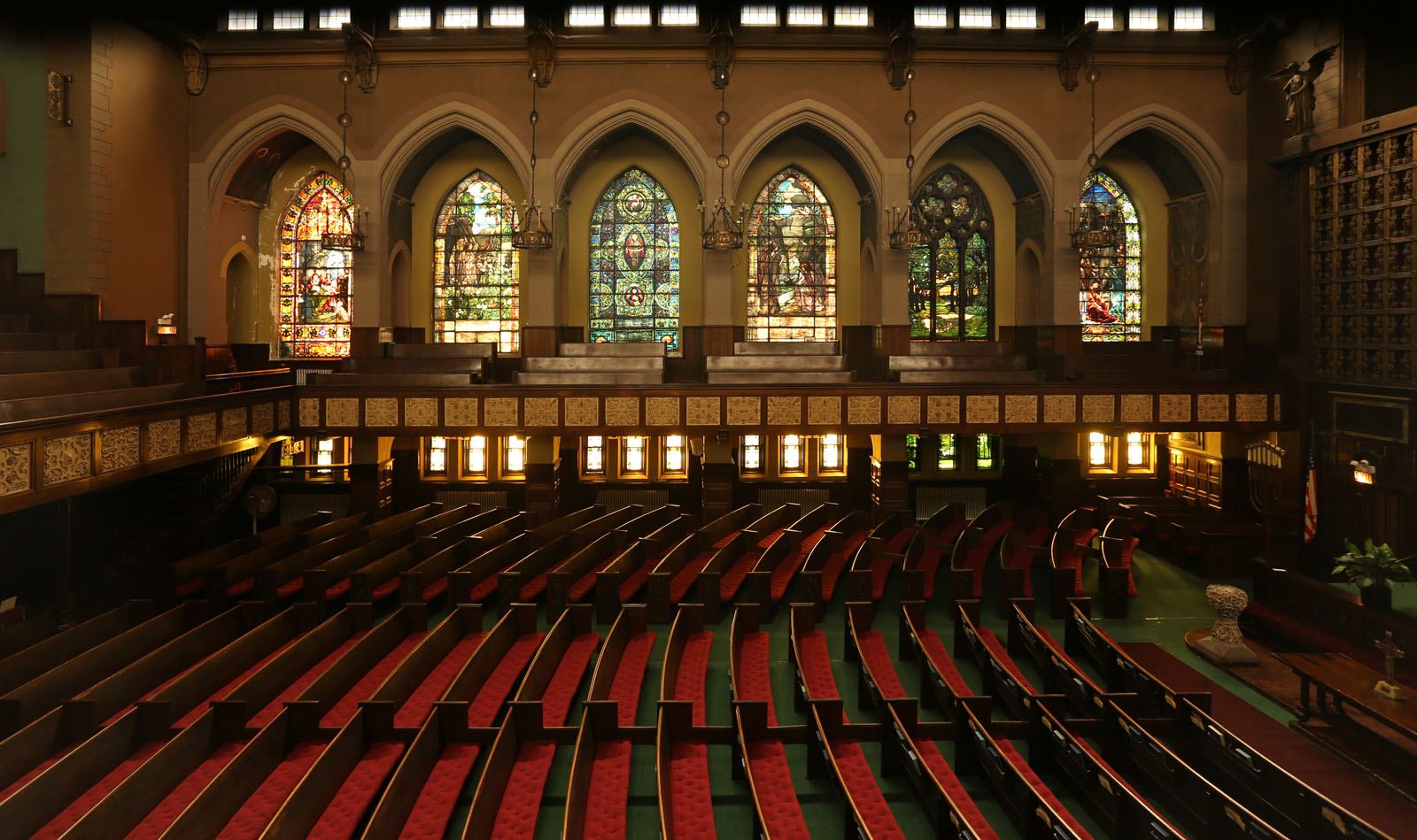 Church interior, with stained glass windows (http://www.socialhistoryofart.com/)