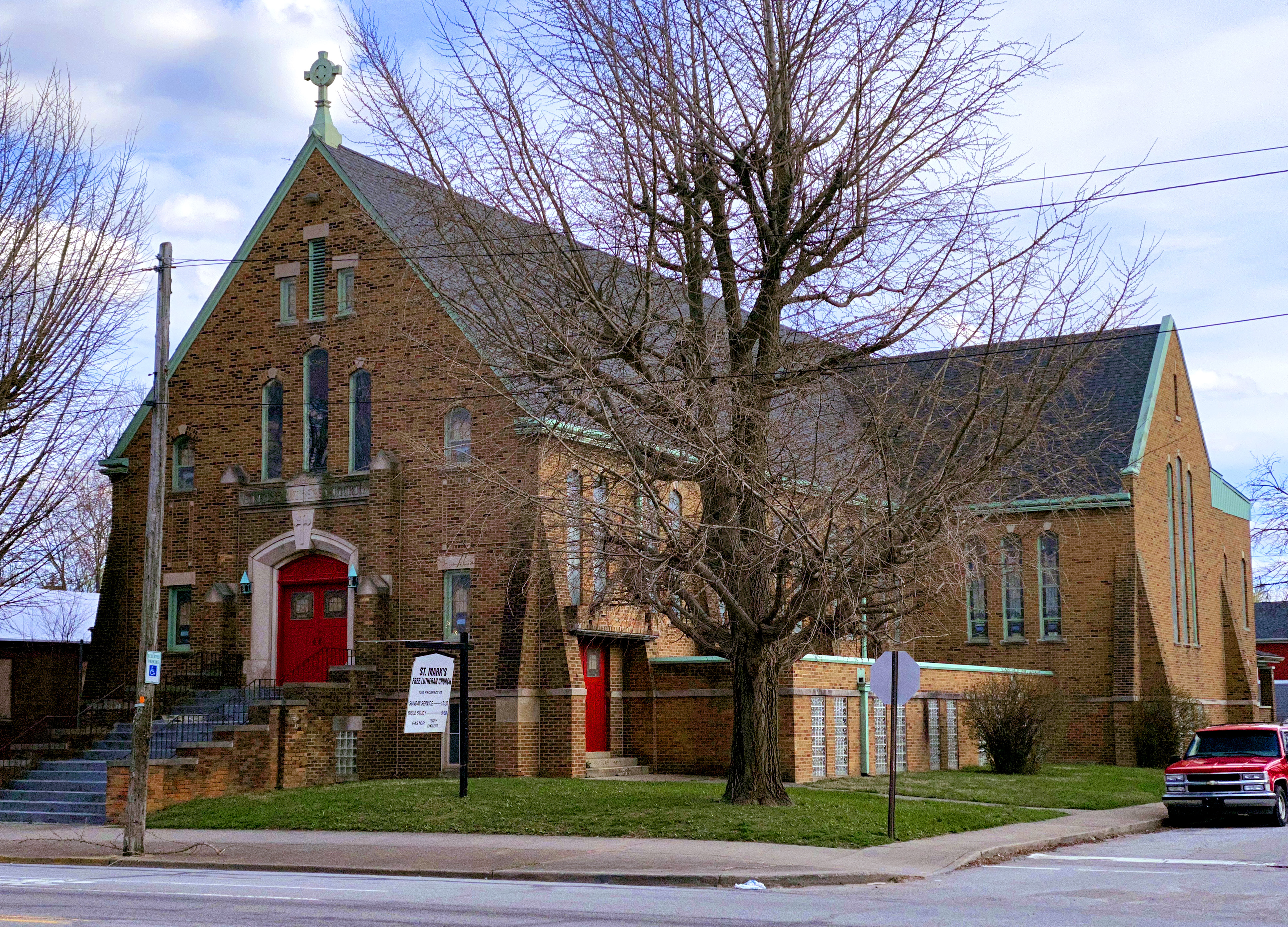 St. Mark's Lutheran church from Prospect Street in March 2020.