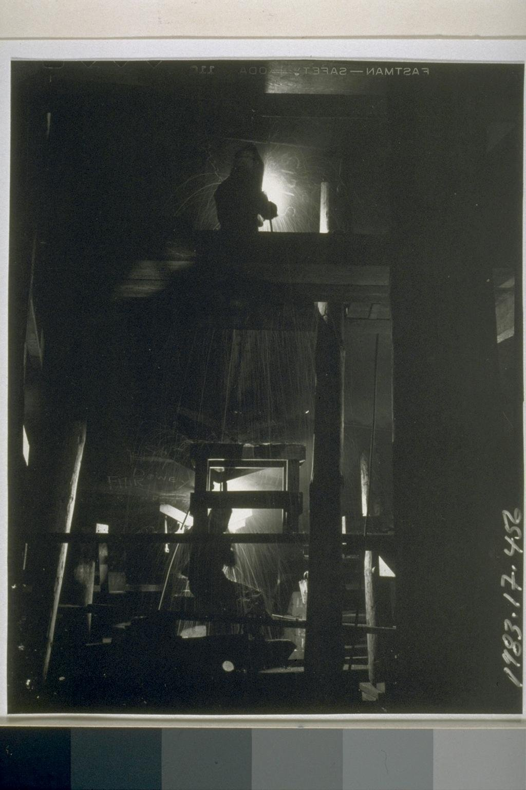 Richmond welders at work deep inside the hull of a ship. Welding (versus riveting) was one of the recent technological advancements that sped up shipbuilding during World War II. (UC Berkeley, Bancroft Library)