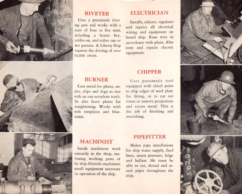 """Excerpt from a 1942 Kaiser orientation booklet entitled """"How'dy Stranger"""" intended to show new workers the various roles found in a shipyard (Kaiser Archives)."""