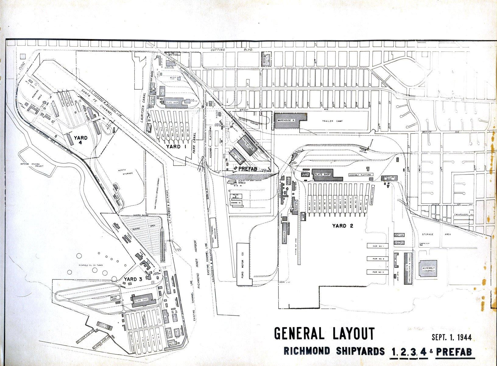 General historic layout of the Richmond shipyards (SanPedro.com)