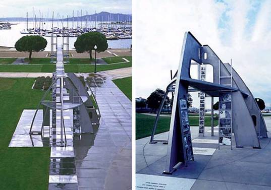 The Rosie the Riveter Memorial, designed to resemble the hull of a ship. The Park was dedicated after three years of effort by local citizens to memorialize the contributions of female workers during World War II.