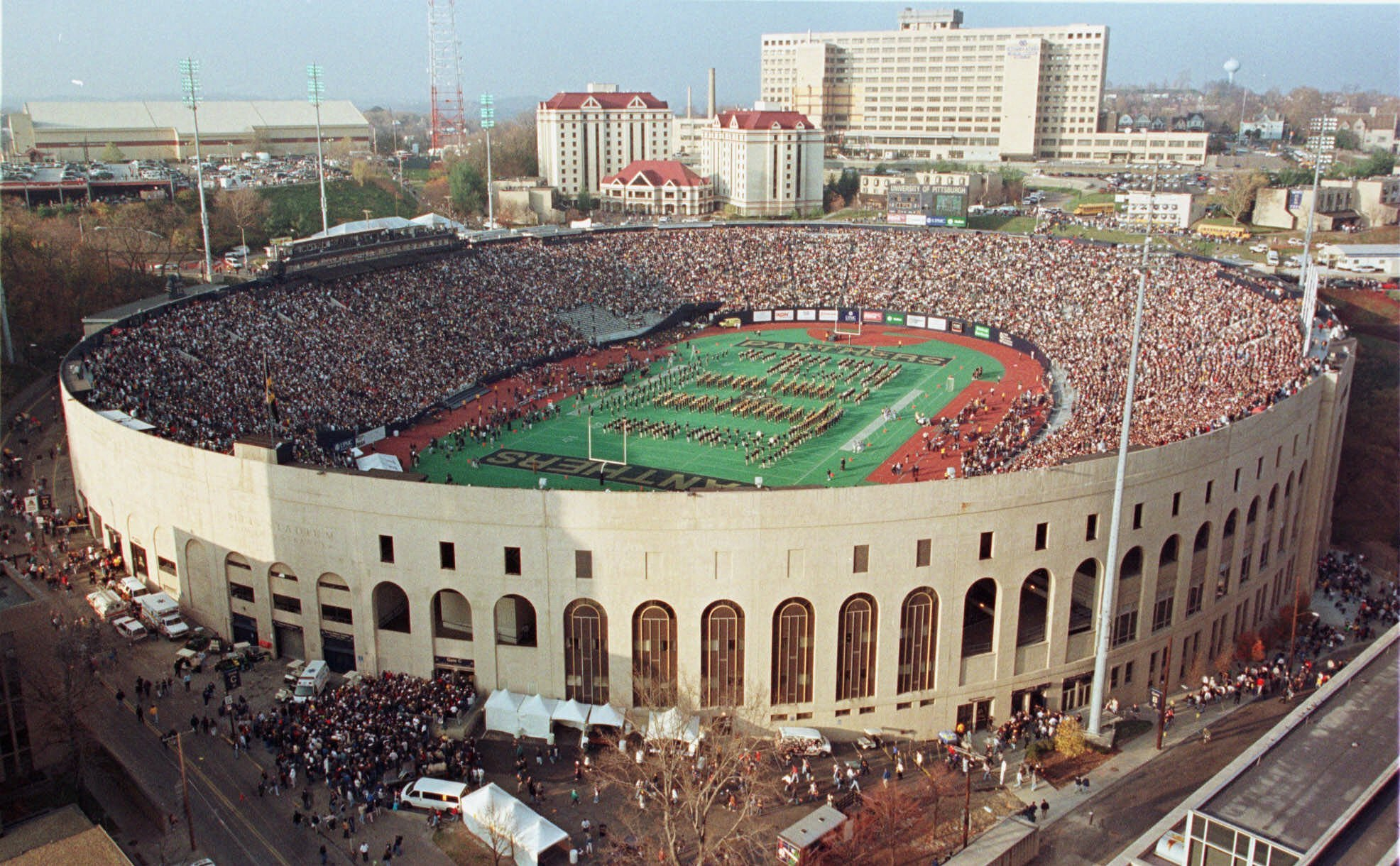 Pitt Stadium once stood where the Petersen Events Center is now located