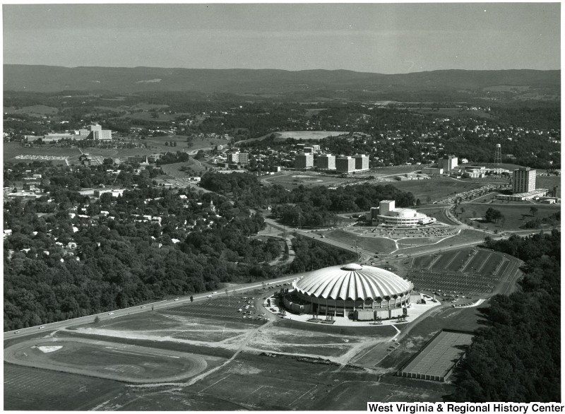 View of the Coliseum and Evansdale campus, which expanded at WVU in the mid-twentieth century.