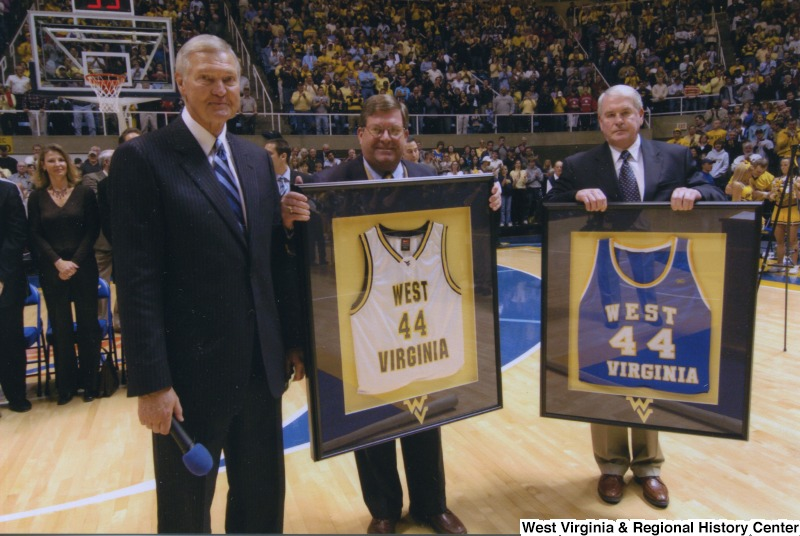 Jerry West, whose success as a basketball player at WVU led him to a career with the Los Angeles Lakers, had his jersey number retired at a ceremony in the Coliseum in 2005.