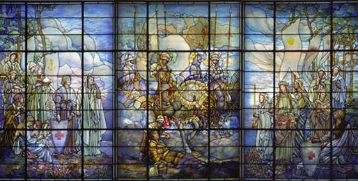 These Tiffany windows were created between 1917 and 1923 and illustrate the mission of the organization. They can be found in the Board of Governors Hall.