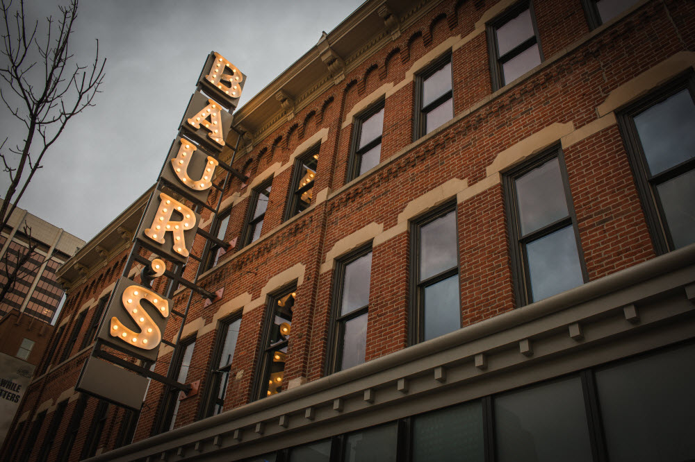 Baur's Restaurant and Listening Lounge occupies the space that was once the O.P. Baur Confectionery Company.