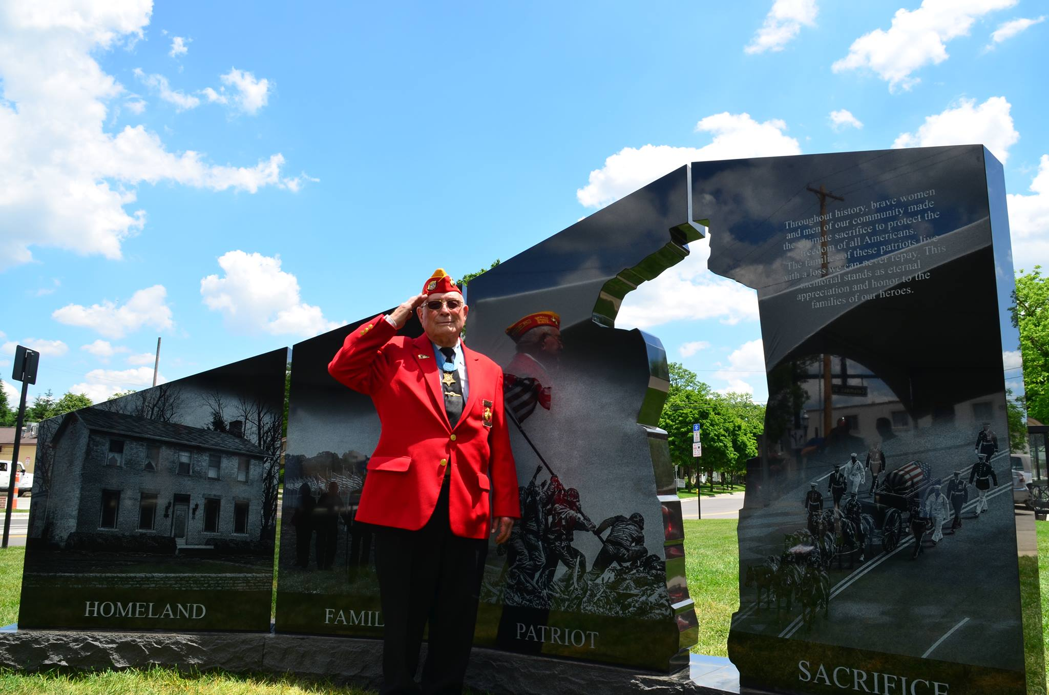 The Memorial on dedication day with Woody Williams