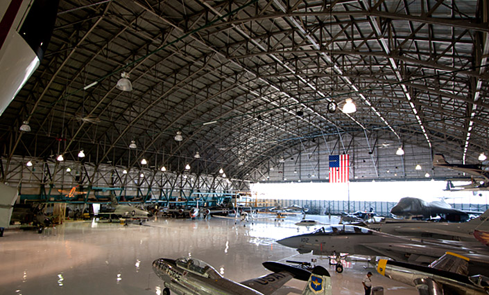 Aircraft on display within hanger #1