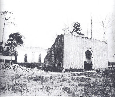 This picture was taken sometime before the church was rebuilt and is a view of the north front corner.