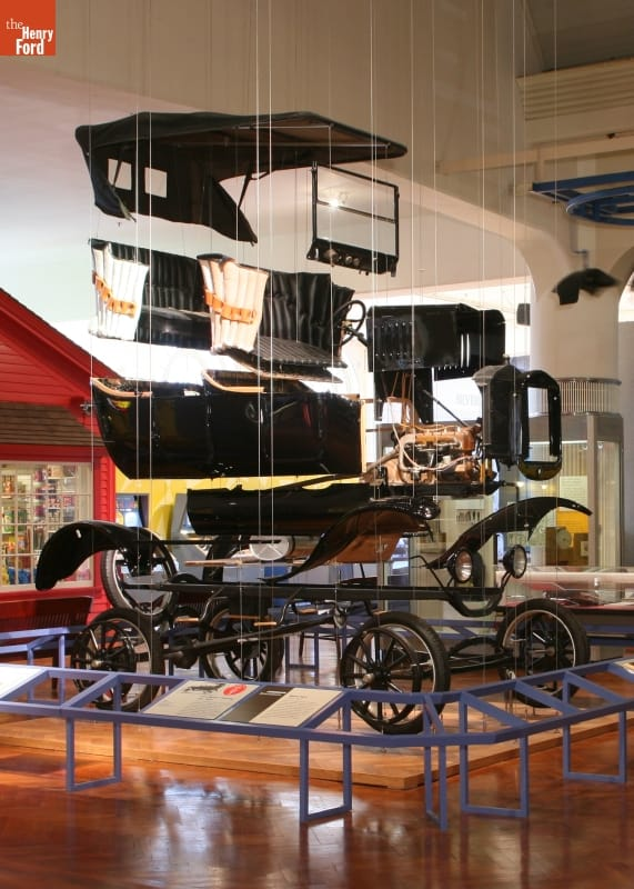 """Exploded"" Model T, demonstrating how Ford's assembly line worked"