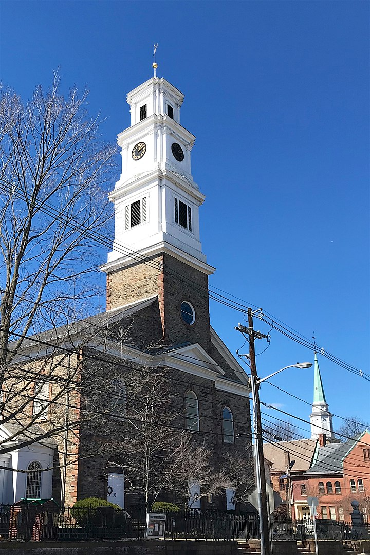 New Brunswick First Reformed Church and its clock tower. Photo from March, 2018.