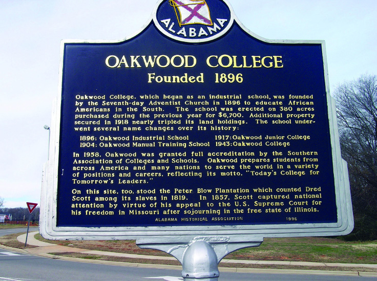 A historical marker on the campus of Oakwood College marks the former site of the Peter Blow Plantation and the home of famous slave Dred Scott.