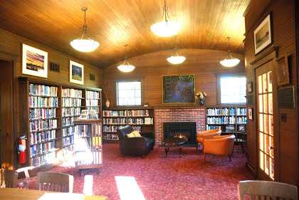 Main Reading Room with fireplace, renovated 2009
