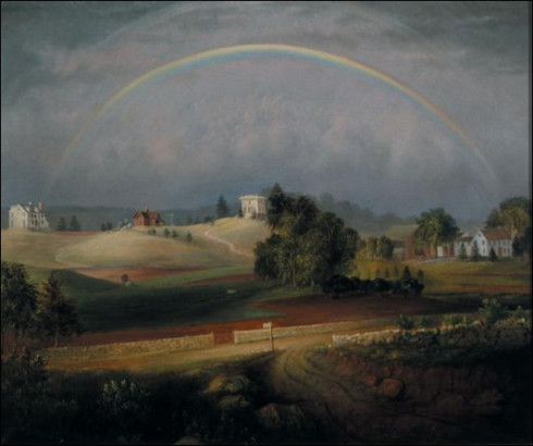 Brook Farm with Rainbow by Josiah Wolcott, 1845 (http://www.masshist.org/)