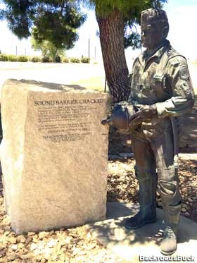 "The statue stands Edwards AFB's ""Sound Barrier Park,"" on the corner of Yeager and Rosamond."