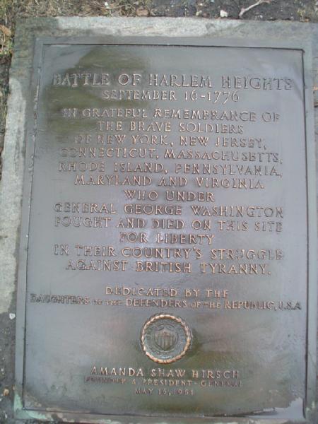 The Battle of Harlem Heights marker.