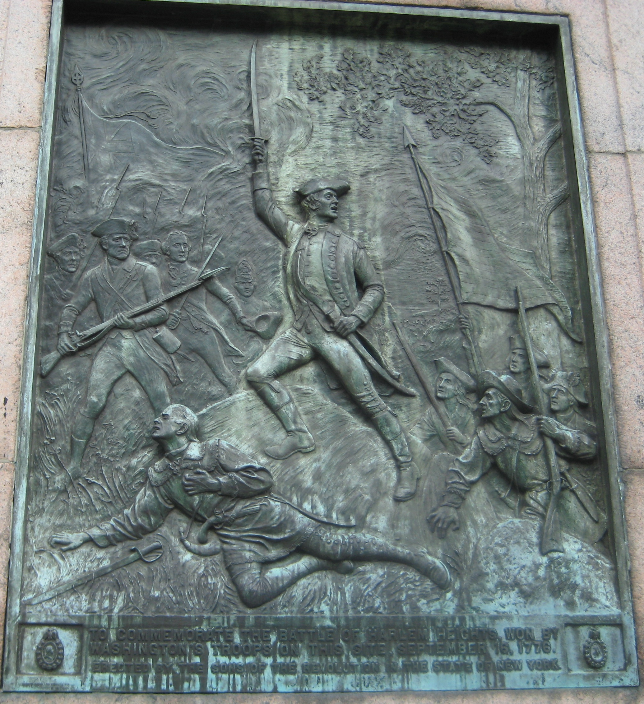 "The Harlem Heights memorial plaque. Although the battle"" was but a minor engagement, Harlem Heights showed the untested rebels that they could hold their own against the British."