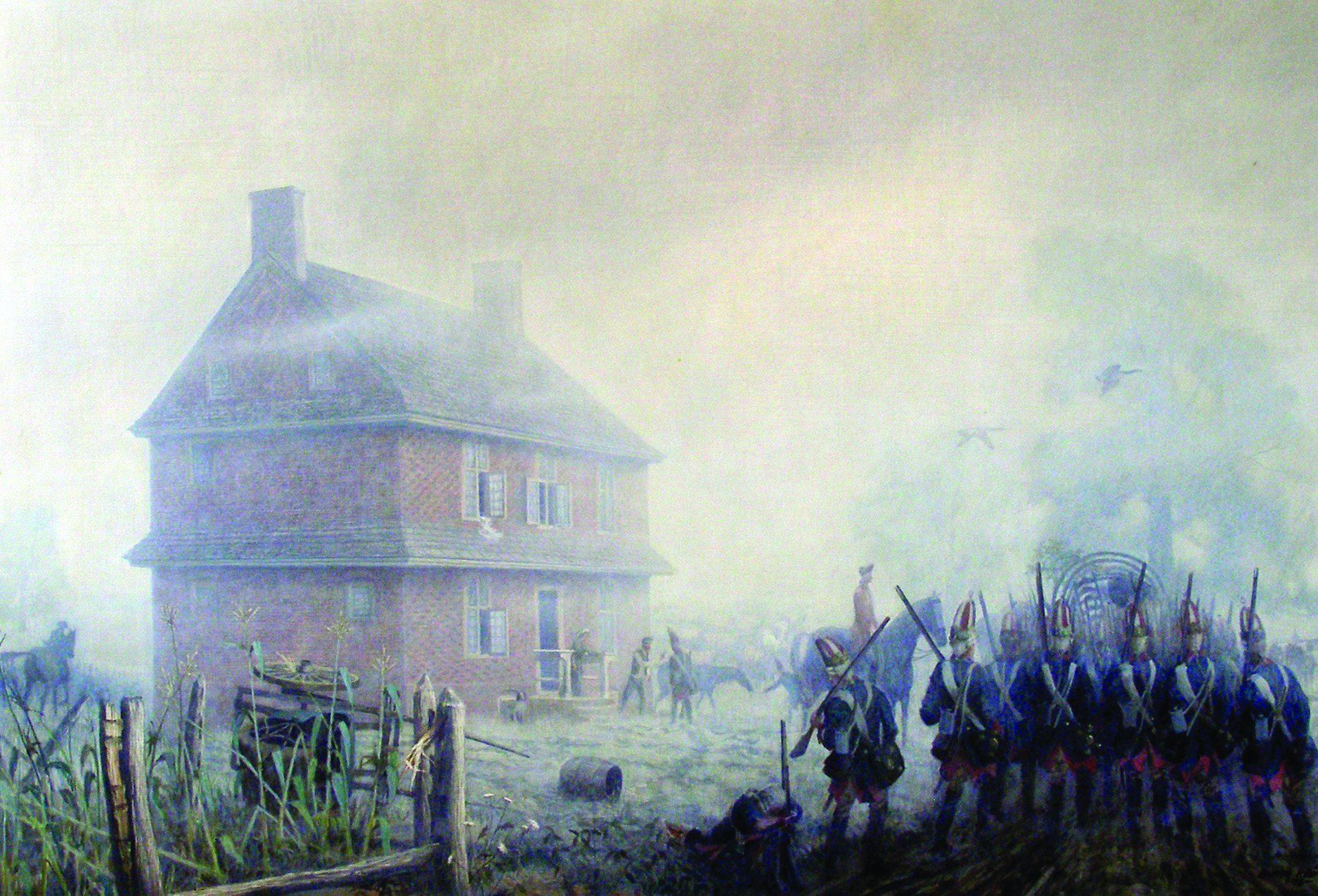 A Painting depicting the Hessian troops passing the house on their way to the Battle of Brandywine