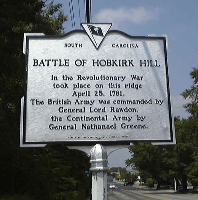Historical marker for the Battle of Hobkirk Hill.
