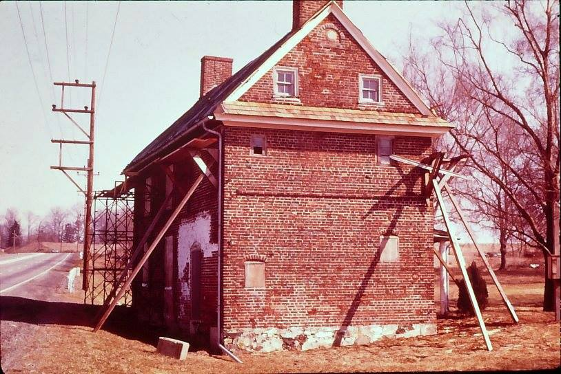 The Barns-Brinton House during its restoration in the 1970s