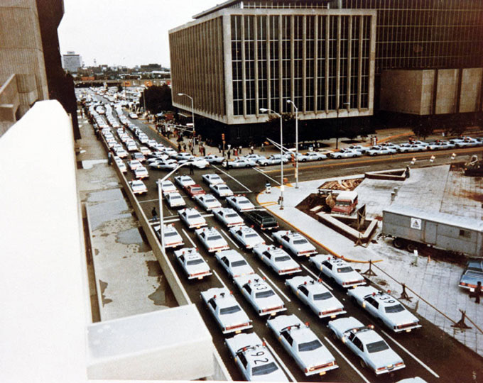 Indianapolis Police Department take home car protest 1977