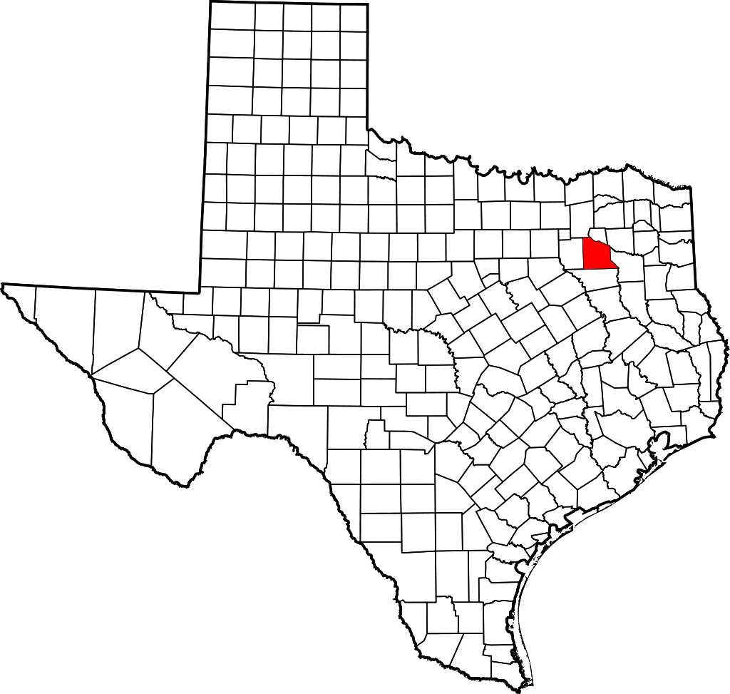 Van Zandt County on a map of Texas