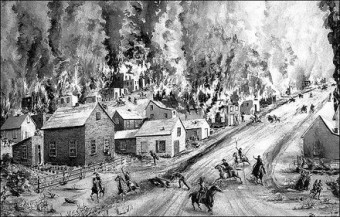 An artist's rendition of the burning of Osceola by Brigadier General James Henry Lane on September 23, 1861.