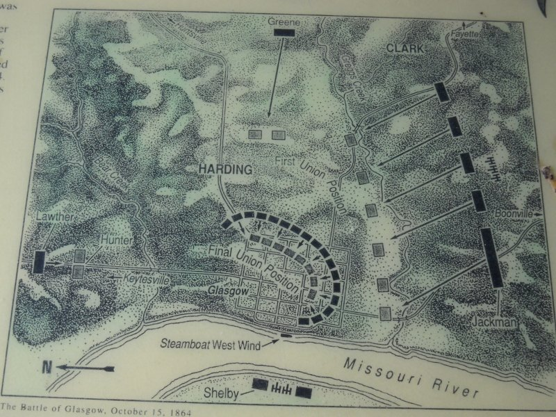 Map from the battlefield plaque. The Rebels attacked on three sides, though Capt. Hunter's Union troops in the north were able to check Lawther's advance for the duration of the battle.