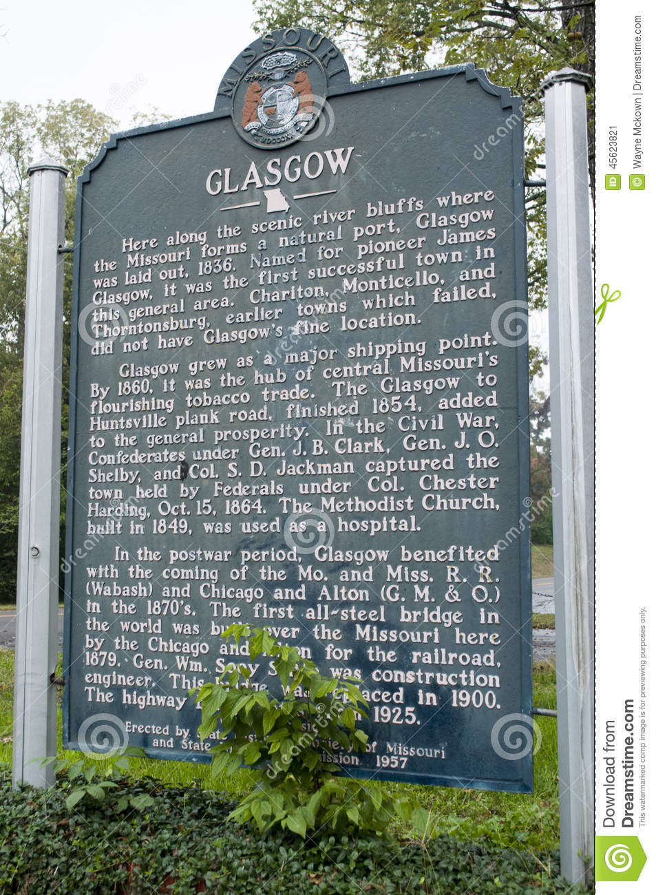 City of Glasgow Marker giving the history of the Battle of Glasgow.