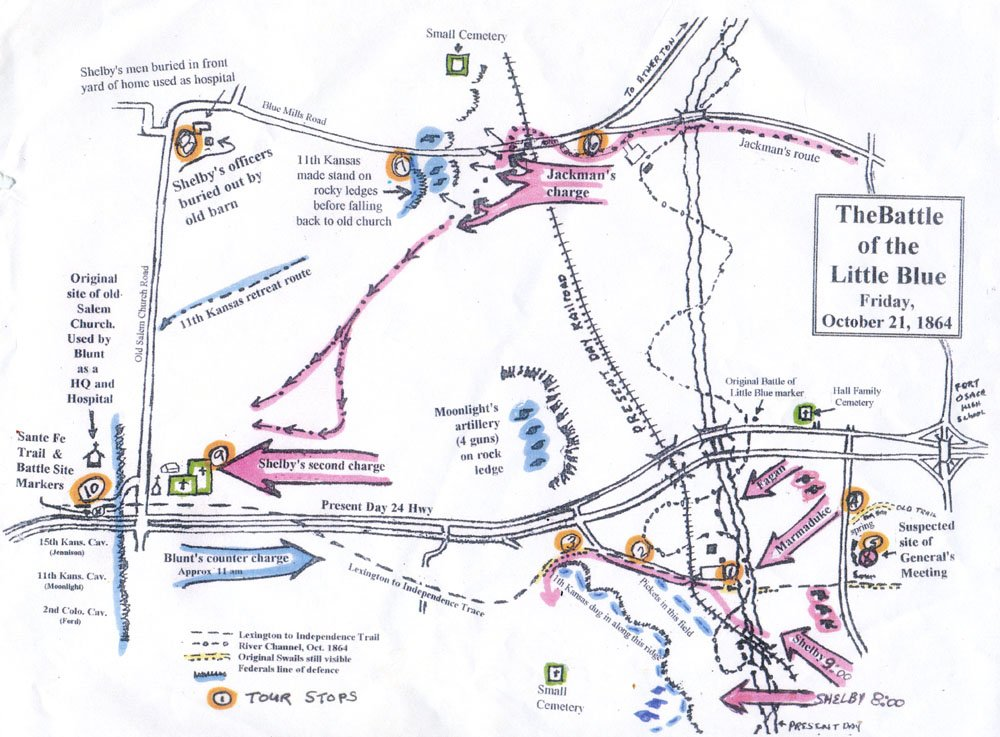 Excellent hand-drawn map of the battle with suggested tour stops by Hugh Welsh.