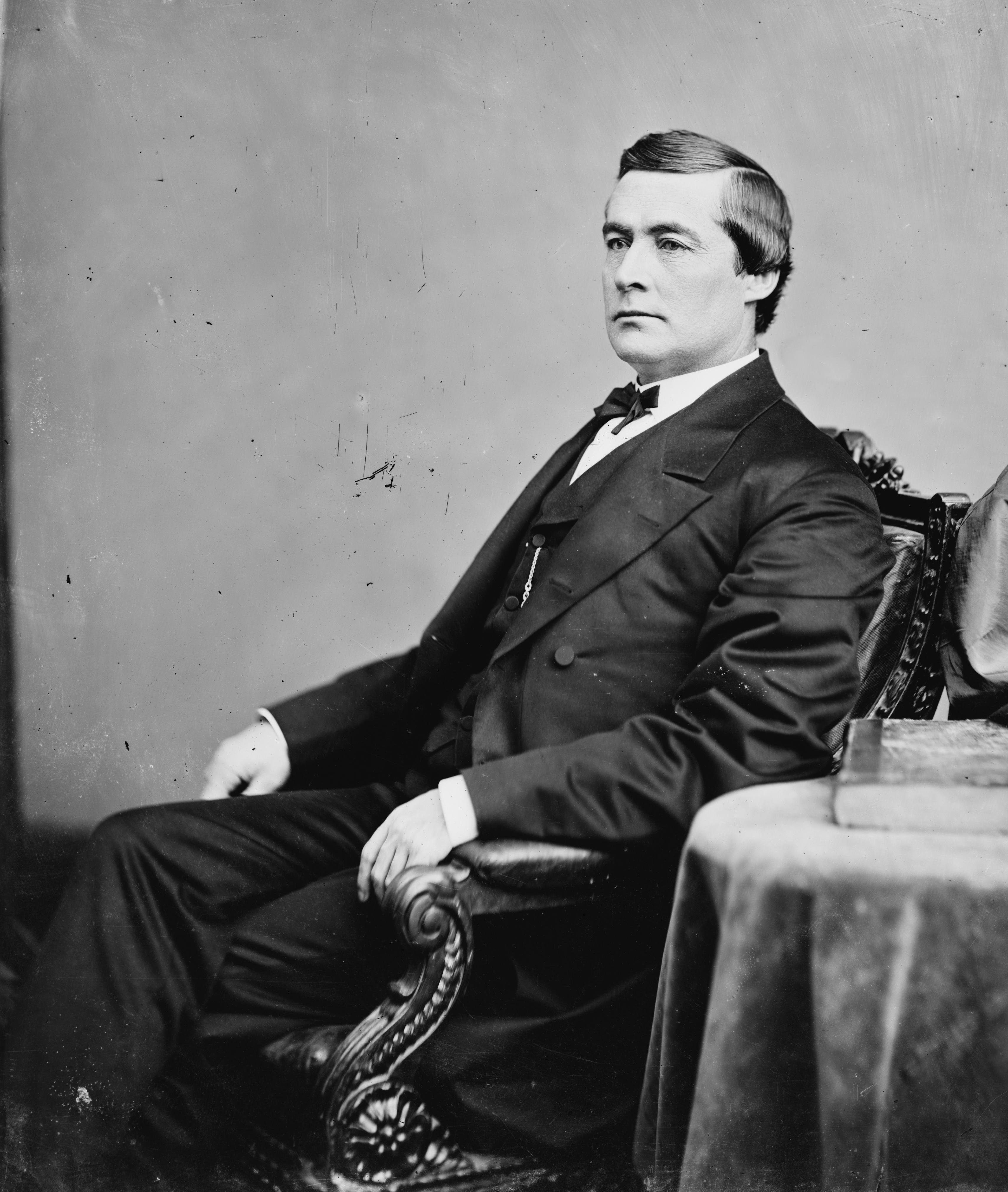 Union Colonel Edmund G. Ross, later a Kansas Senator. When two horses were shot from beneath him, Ross calmly saddled a third in the open between the clashing armies to inspire his men. Photograph by the famed Matthew Brady.