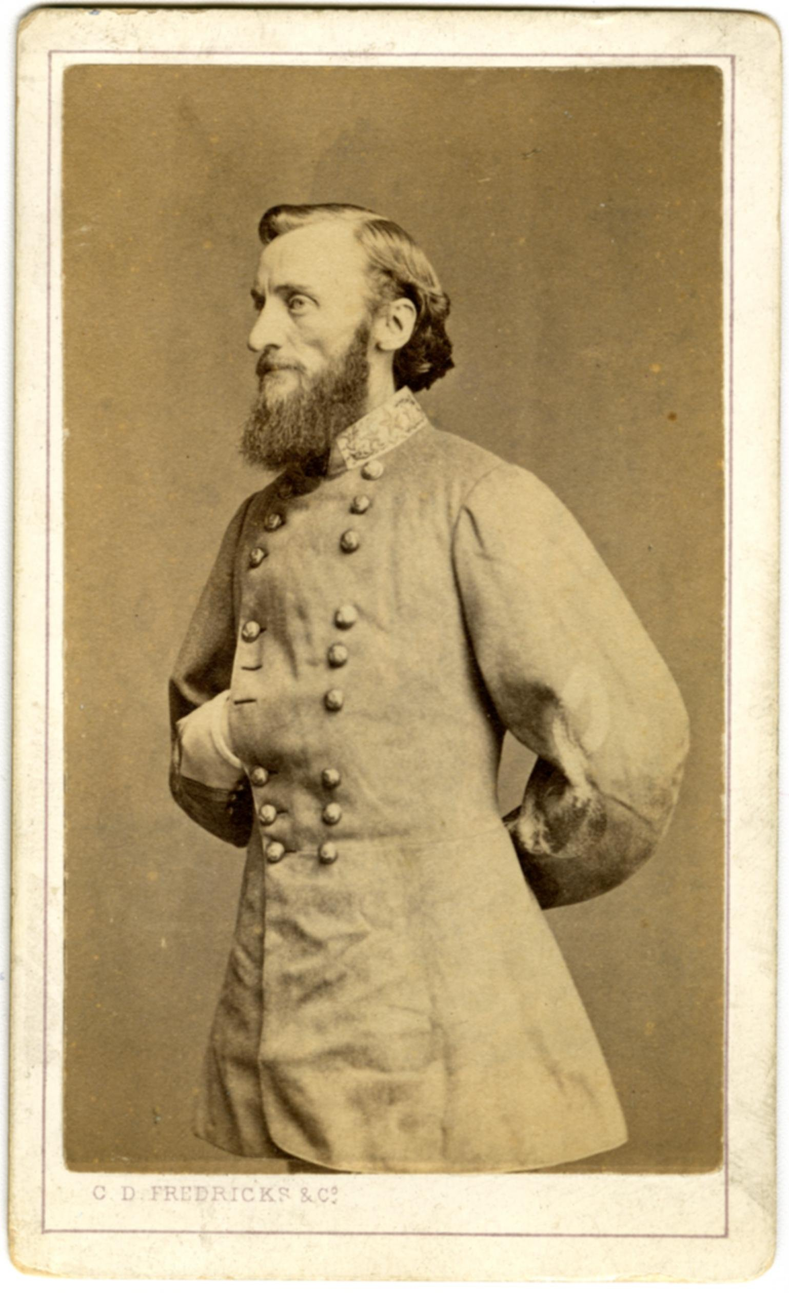 Confederate General John S. Marmaduke's division bore the brunt of the fighting. He has been criticized for his haphazard crossing of the Little Blue, which failed to concentrate his superior force against Moonlight's outnumbered Federals.