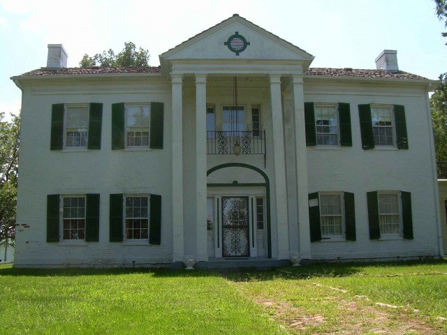 The Lawson Moore house, which stood on high ground overlooking many of the points of Confederate advance. Union Colonel Thomas Moonlight reconstituted his defense here after he was flanked and withdrew from his advance positions on the river.