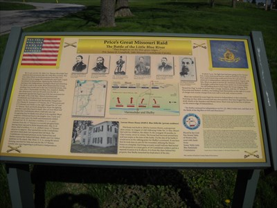 Marker placed at the Battle of Little Blue River in Independence, Missouri.